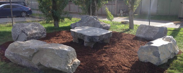 Students and teachers now have the option of meeting, collaborating and working in our outdoor classroom, complete with Flintstone style seating, tables and conversation circle space.